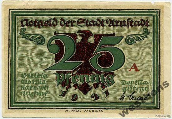 Германия Arnstadt 25 пфеннигов 1921 г. распродажа