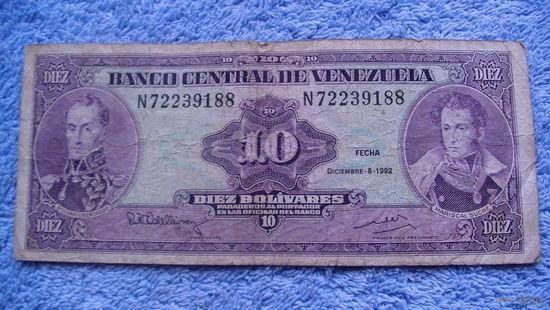 Банкнота Венесуэла 10 боливаров 1992г распродажа