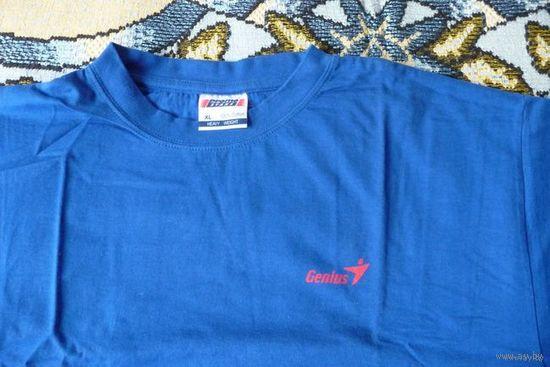 """Мужская футболка (майка) """"Genius"""" синяя новая, р. XL"""