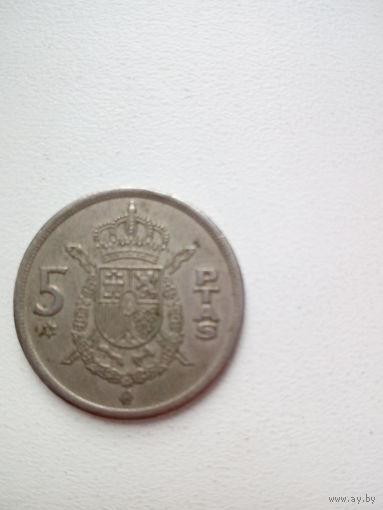5 ptas 1975г. Испания