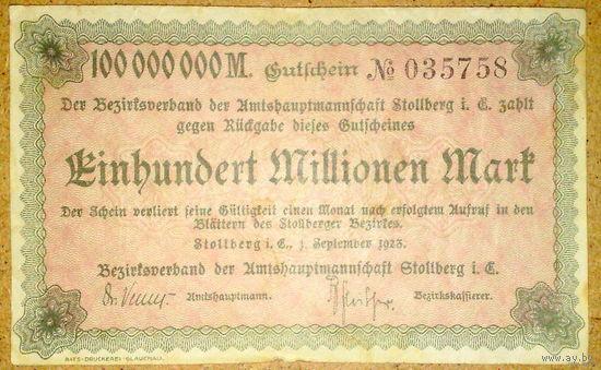 Штолльберг 100млн. марок 1923г.