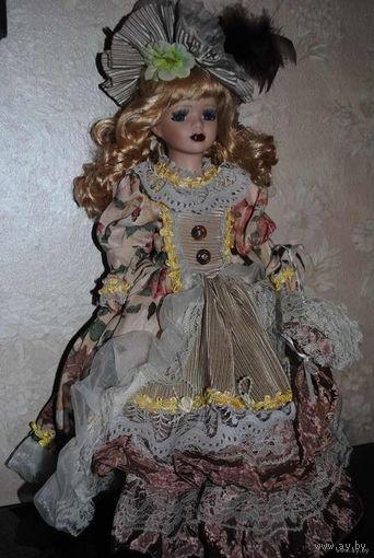 """Фарфоровая кукла_""""ИНГА""""_Фарфоровая голова, руки, ноги и шикарный наряд_Новая./Польша!"""