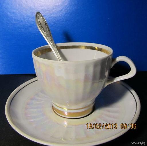 Кофейная пара с мельхиоровой ложечкой времён СССР