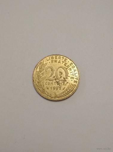 Франция / 20 сантимов / 1993 год