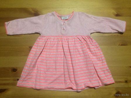 Платье  Next на 3-6 месяцев. Цвет нежно-розовый и розовый неон. Указано до 3-х месяцев, но реально до полугода можно носить. Длина 36 см, Длина рукава 22,5 см. Качественный хлопок. Носили совсем мало,