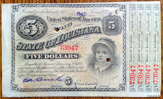 5 $ 1875 Louisiana  baby bond  aUNC!!!