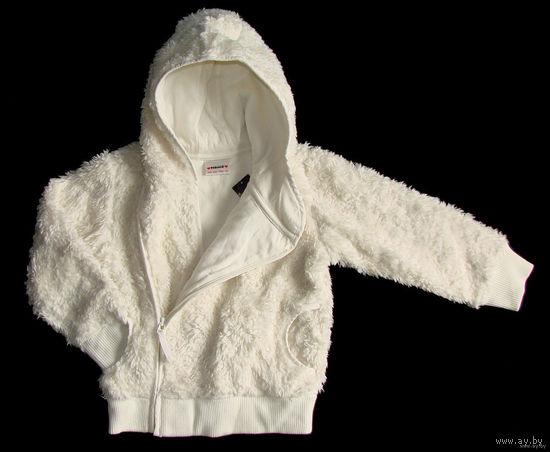 Куртка детская для девочки фирмы NEXT (оригинал), на 5-6 лет, на рост 116-120см, новая, демисезонная, искусственный мех (см. фото), с капюшоном, на молнии, теплая, подкладка - 100% хлопок, качественны