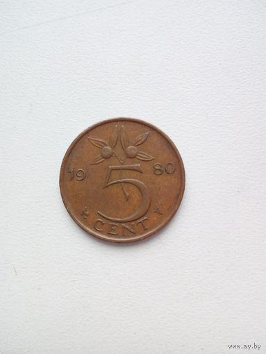 5 центов  1980г. Нидерланды