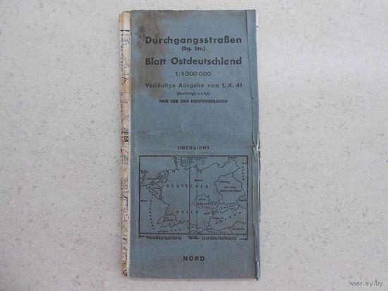 Карта автомагистралей и автодорог восточной части Германии и прилегающих территорий, только для служебного пользования, г. Мюнхен, Германия, конец 1940 - май-июнь 1941 гг.