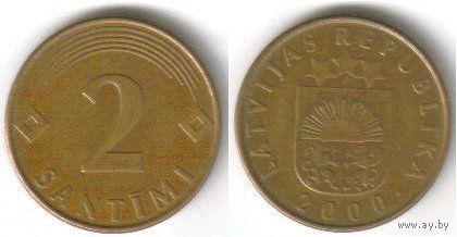 Латвия. 2 сантима (2000)