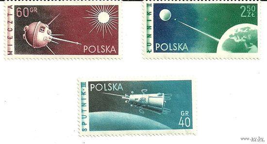 Спутники. Серия 3 марки негаш. 1958 космос Польша