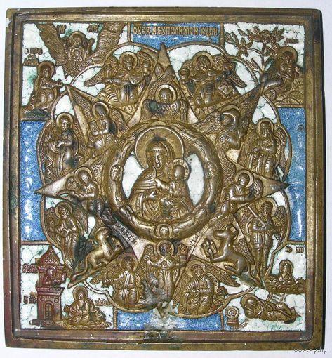 Медно-литая икона в эмалях Неопалимая Купина XIX В35