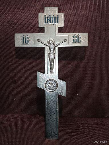 Крест напрестольный большой латунный никелированный