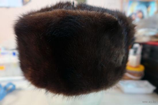Шапка ушанка женская из светло-коричневой норки. Натуральный мех. Размер 56. (номер 2).