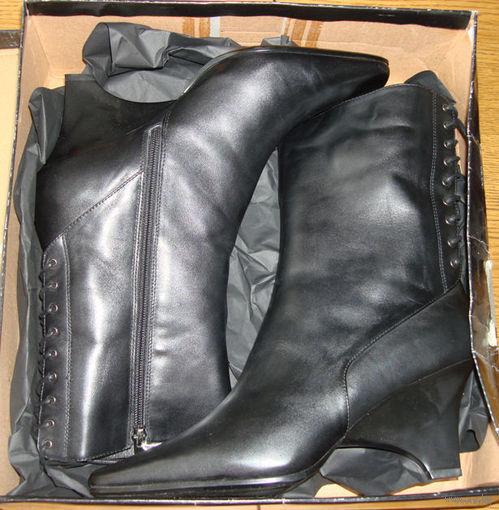 Новые женские кожаные сапоги на меху, р.40
