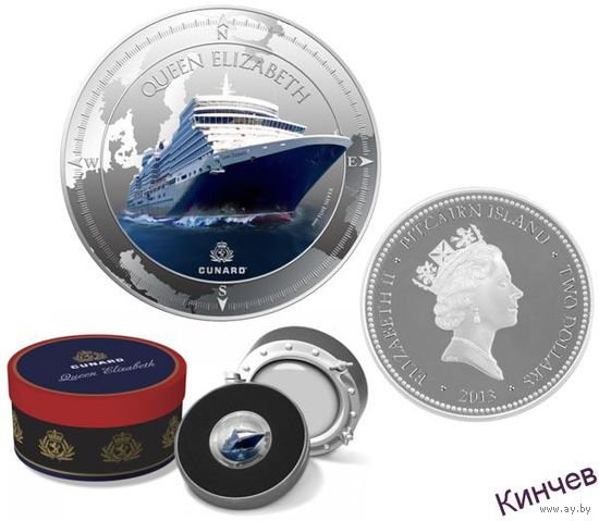 2 доллара Питкерн 2013-Корабль Королева Елизавета