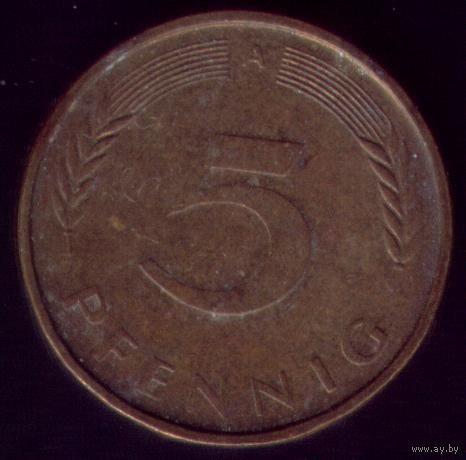 5 пфеннигов 1990 год ФРГ А
