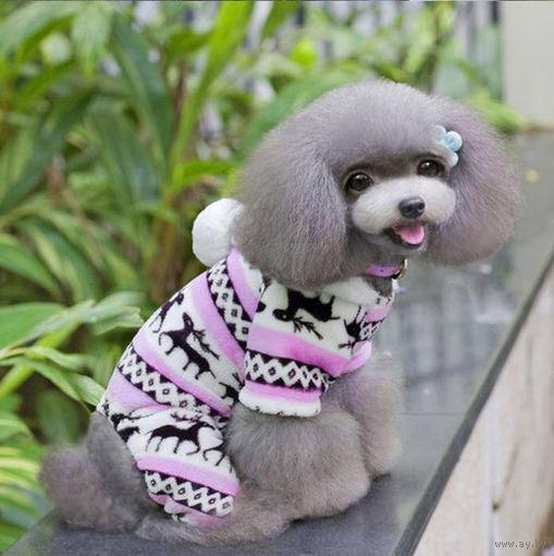 Флисовый мех розовый и серый комбинезон для собак и кошек S M L XL (20)