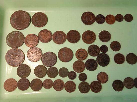 Царская Россия 45 монет, Сборный лот, Без МЦ.