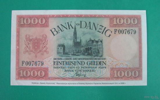 Польша 10000 гульденов 1924г. Гданьск, копия