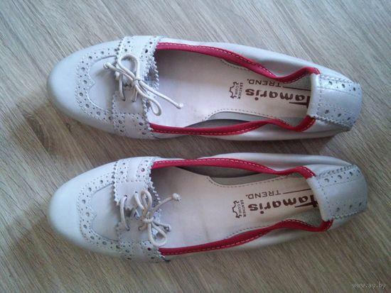 Женские туфли балетки Tamaris, натуральная кожа, 40 р