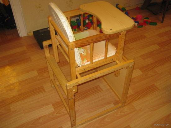Деревянный детский стульчик для кормления, трансформер, для возраста от 0 до 7 лет