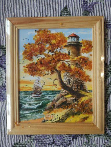 """Картина из янтаря """"Маяк и море"""""""
