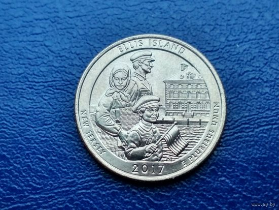 США. 25 центов (квотер, 1/4 доллара) 2017 D. Национальный монумент острова Эллис.