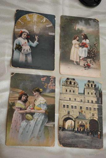 Четыре почтовые карточки Зап.Европа до 1917 года., - все прошедшие почту - продаю только одним лотом-!