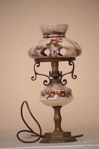Старинная настольная лампа Голландия,керамика , выс.43 см