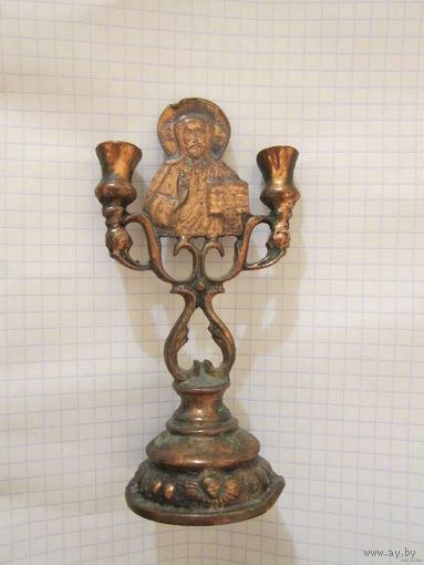 Старинный бронзовый подсвечник . Миниатюра .Иисус