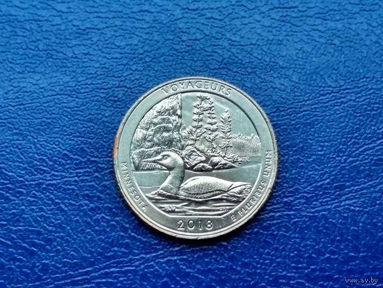 США. 25 центов (квотер, 1/4 доллара) 2018 P. Национальный парк Вояджерс.