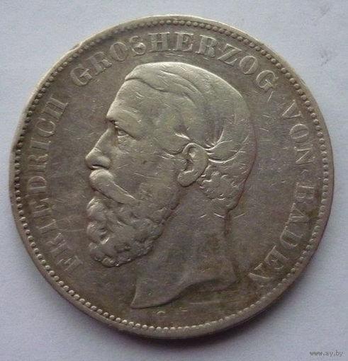 Германия. Баден. 5 марок 1875г. Серебро.