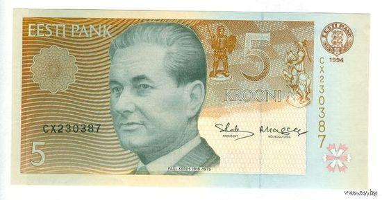 Эстония, 5 крон 1994 года, UNC