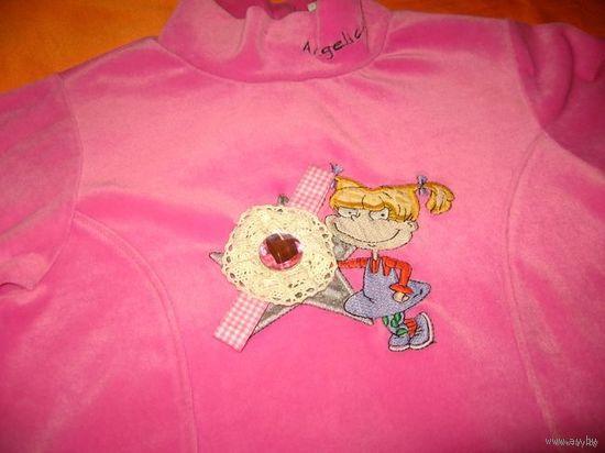 Бархатная розовая кофточка 5-6 лет