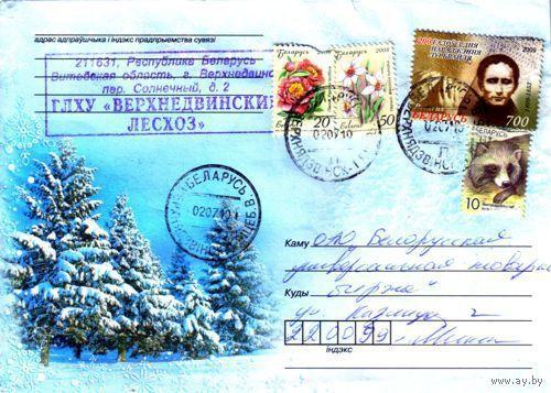 "2009. Конверт, прошедший почту ""Зимний лес"""
