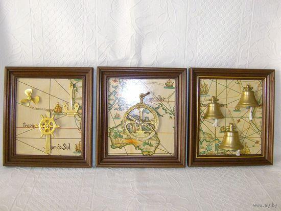 3 Картины - панно на морскую тему. Винтаж.