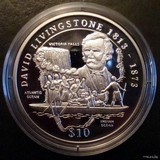 Сьерра-Леоне 10 $ 1998 Ливингстон, серебро, пруф