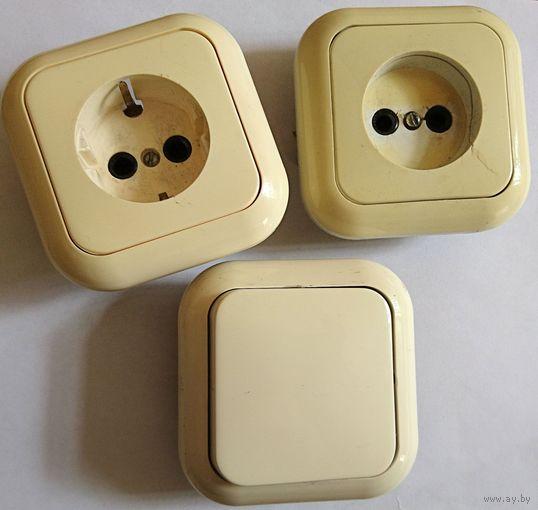 Две розетки и выключатель (с 20 коп)